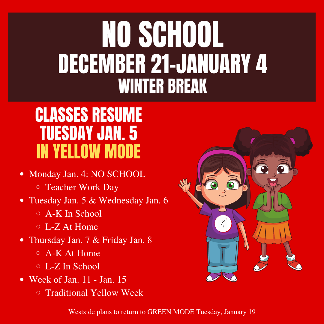 December 11, 2020 | District To Remain In 'Yellow' Mode Through January 15